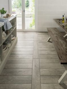 porcelain flooring 41 Enchanting Porcelain Tile Ideas For Kitchen Floors - If you think that cream and beige are unexciting shades in home design, check out the latest Livingstyle Porcelain Tile Collection. These porcelains a. Wood Effect Porcelain Tiles, Wooden Floor Tiles, Wood Look Tile Floor, Wood Effect Tiles, Wood Tile Floors, Terrazzo Flooring, Stone Flooring, Kitchen Flooring, Wooden Flooring