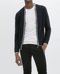 ZARA - SS14 - NAVY JACKET WITH PIPING AND ZIP