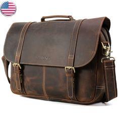 """Men Leather Briefcaes 16"""" Laptop Satchel Vintage Handbag Shoulder Messenger Bag  (eBay Link)"""