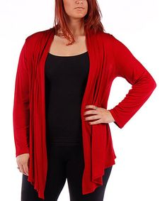 Love this Ruby Red Open Cardigan - Plus by Yummy on #zulily! #zulilyfinds