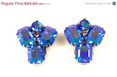 On Sale Vintage Weiss Blue Aurora Borealis Rhinestone Earrings Clip Back 1960s Glass Rhinestones