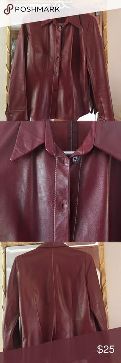 """Leather shirt. Fun & funky. Vintage leather shirt. 23"""" long, 16"""" across. The Wrights Leather Tops"""