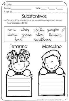 Atividade Pronta - Substantivos Portuguese Lessons, Learn Portuguese, Addition And Subtraction Worksheets, Back 2 School, Primary School, Teaching Kids, Activities, Education, Comics