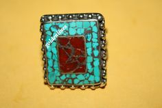 Nepalese Tibetan Handmade Coral Turquoise Ring by goldenlines