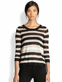 AIKO - Tamika Metallic Striped Split-Back Sweater - Saks.com
