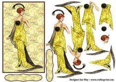 Art Deco Fantasy Fashion Decoupage