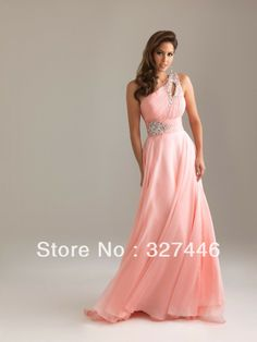 Wholesale Coral Light Blue Cheap Sexy One Shoulder Crystals Empire Sleeveless Chiffon Sweetheart Prom Gowns Bridesmaid Dresses US $59.06