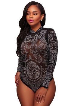 e6cb28ace4 Black Mesh Rhinestone Embellished Bodysuit. Womens BodysuitBlack BodysuitEmbellished  BodysuitTurtleneck BodysuitLong Sleeve ...