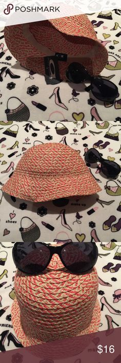 """""""Cute"""" NWT August Accessories Bucket Hat Brand New melon and straw bucket hat.  Perfect size for the beach!  Look chic and in style with this hat and a pair of shades😎 August Hats Accessories Hats"""