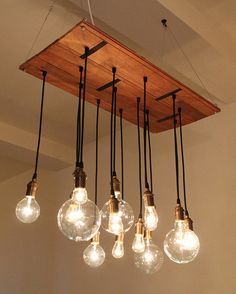 salvaged hardwood/ exposed bulb chandelier