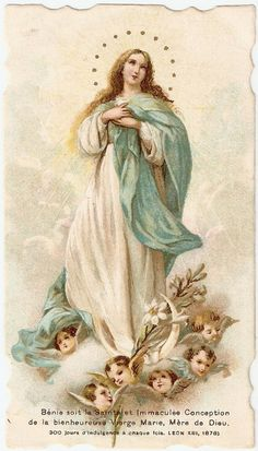 ~ The Feathered Nest ~: antique Christmas images Catholic Prayers, Catholic Art, Religious Art, Roman Catholic, Blessed Mother Mary, Blessed Virgin Mary, Divine Mother, Vintage Holy Cards, Vintage Images