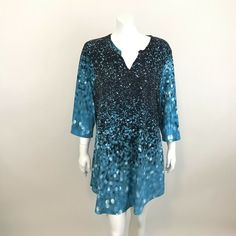 2cea5c9b630 Simply Aster by Firmiana Tunic Top Shirt Plus Size 1X 3 4 Sleeve Blue Ombre