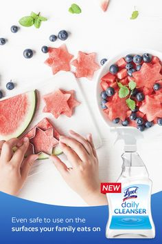 with 3 simple ingredients, Lysol Daily Cleanser leaves behind no harsh chemical residue and is even safe to use on cutting boards and knives. It's tough on germs but gentle enough to use around your family. Toddler Meals, Luau, No Bake Desserts, Fourth Of July, Food Art, Holiday Recipes, Family Recipes, Brunch, Food And Drink