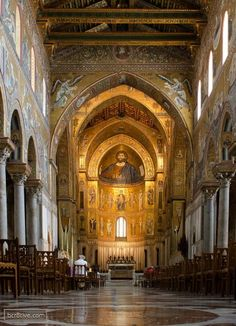 Interior of the Monreale Cathedral in Sicily, Italy