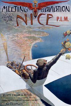 Meeting d Aviation Nice 1910 - Vintage Aviation Poster Art Print Retro Poster, Vintage Advertising Posters, Vintage Travel Posters, Vintage Advertisements, Vintage Ads, Vintage Metal, French Vintage, Kunst Poster, Poster Art
