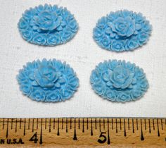 Cabochons: 4 Vintage 18x25MM Blue Carved Celluloid/Plastic Rose Cabochons Rare Supplies from 1960s Japanese Imported by National Artcraft by bansheehouseofmake on Etsy