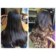 Before and After #beforeandafter #balayage #ombre #handpainted #freehand #hair #hairporn #sombre #highlights #brunette #babylights #curls #longhair #melt #colormelt #matrix #mocha #loreal