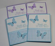 Butterfly Gala Note Cards, Thank You Cards, Butterfly Cards, Buffalo Check, Stamping Up, Stampin Up Cards, Butterflies, Birthday Cards, Card Ideas