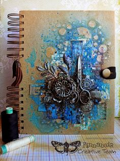 Cutting Edge art journal cover by Riikka Kovasin for Finnabair Creative Team