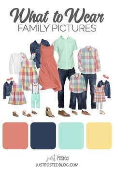 What to Wear for Spring Family Photos or Easter! Matching Family Looks - Spring Family Pictures, Family Pictures What To Wear, Summer Family Photos, Family Pics, Family Portrait Outfits, Fall Family Photo Outfits, Family Posing, Family Portraits, Family Picture Colors