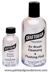 Graftobian Airbrush Cleansing Fluid - Use periodically as a flushing agent throughout long periods of airbrushing. Use between color changes so each color remains pure in application from your airbrush. Breaks down the pigment residue quickly and easily from your airbrush and flushes it fast.  Ideal to use with other acrylic or water-acrylic hybrid or alcohol-based airbrush makeup you may be using.  Ideal to use to wipe down the outside areas of your airbrush that may have some spill on it.