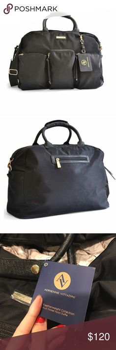 NWT Adrienne Vittadini black carrying duffel bag New with tags! No trades Adrienne Vittadini Bags Travel Bags