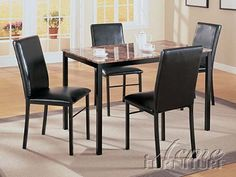 5-pc Pack Crossville Design Faux Marble Top Dining Table Set ACS 60782