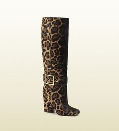 0f50cf5a5932 Gucci - Brown Kesha Jaguar Print High Heel Boots - Lyst