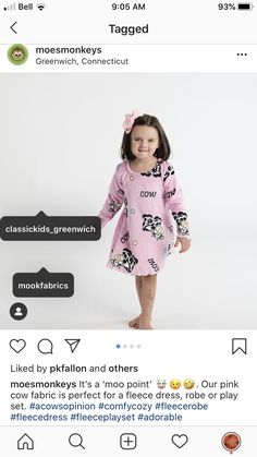 Fleece Dress for Kids! Shop Mook Fabrics fabric store in Medicine Hat Alberta, Winnipeg Manitoba and Leola Pennsylvania for your new favorite fabrics for all your DIY creations! Pink Cow, Pennsylvania, Medicine, Quilting, Fabrics, Kids Shop, Diy Projects, Sewing, Create