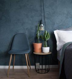 "107 Likes, 15 Comments - Karoline Solberg (@karolinevsolberg) on Instagram: ""#kalkmaling #interior #grunerløkka #jotun #cactus #homedecor #bedroom #bluebedroom #bluewalls…"""