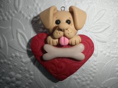This cute little four legged (sometimes three legged) Valentine sweetheart would look super sweet as ornament. To be hung anywhere. Or as a