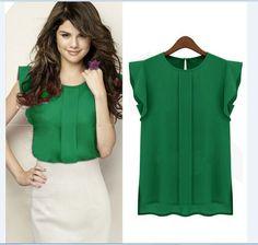 Elegant Women Blouse Short Sleeve Chiffon Shirt Ruffle Casual Top Blouse Pullover LH6