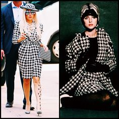 Houndstooth, pied de Poule, Vogue September 1965, Lady Gaga - personal style meets fashion history through houndstooth at fashionvoyeurism.com!