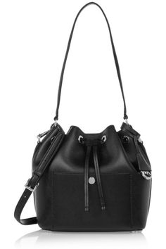 Black textured-leather (Cow) Snap-fastening drawstring top Weighs approximately 2lbs/ 1kg