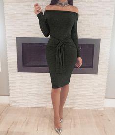 7ef4c9f52caeca 2018 New Spring Clothing Fashion Sexy Dress Off Shoulder Waistband Long  Sleeve Sheath Midi Women Dresses