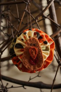 Autumn turkey... fabric and felt harvest decoration turkey ornament. $11.00, via Etsy.