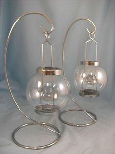 Bulk Buy 2 x Chromed Metal & Clear Glass, Single Candle holder, 34cm tall D9998