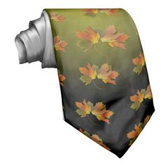 Orange and Yellow Fall Leaves Custom Tie by Fall_Seasons_Best