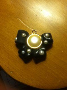 Black pearl bow, handmade