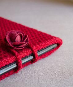 iPad Case in Cranberry Red  Crochet iPad Sleeve  by natalya1905, $39.00