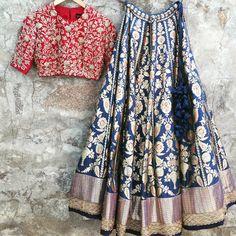 Wedding season on its way! Get yourself dressed with this stunning lehenga designs for women. Browse thousands of similar design and ideas online. Half Saree Designs, Lehenga Designs, Saree Blouse Designs, Mehndi Designs, Blouse Back Neck Designs, Indian Dresses, Indian Outfits, Banarasi Lehenga, Blue Lehenga