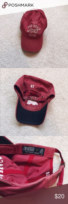 vintage polo beach club hat Red/maroon vintage Polo Beach Club baseball hat from Polo by Ralph Lauren. Circa late '90s in excellent condition, with the only flaw being a wear mark on the back strap. Adjustable strap and perfect for fall outfits! Technically men's but I would consider this to be unisex, though it does have a bit of a longer bill in the style of a standard's men's cap.  Ask me about bundling! ✨ Polo by Ralph Lauren Accessories Hats
