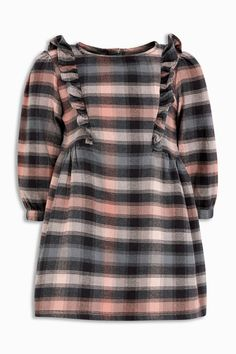 c9dfb98b8 Buy Pink Grey Check Ruffle Dress (3mths-6yrs) from the Next UK