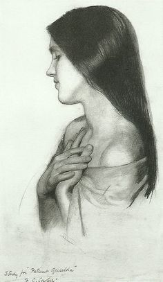 Frank Cadogan Cowper Study for 'Patient Griselda' Profile Drawing, Face Profile, Female Portrait, Portrait Art, Figurative Kunst, Pre Raphaelite, Art Plastique, Art History, Art Drawings