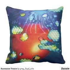 """Ascension Trance Throw Pillow. Decorate your space and your mind with the grooviest psychedelic pillows yet. Enjoy lounging in comfort and edgy style. Totally new. Totally now! The trippy image is created from my Kinetic Collage """"Sweet Dreams"""" series of light show photos. How hip is that? Over 3000 products at my Zazzle online store. Open 24/7 World wide! http://www.zazzle.com/greg_lloyd_arts*?rf=238198296477835081 + See KC @  http://www.youtube.com/user/kineticcollage"""