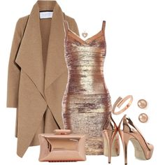 SEXY IN ROSE GOLD by arjanadesign on Polyvore featuring Harris Wharf London, Treesje, BCBGeneration, Bloomingdale's, Brian Atwood, women's clothing, women's fashion, women, female and woman