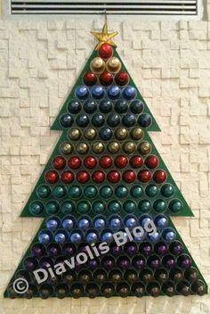 Christmas tree with nespresso caps. xmas tree.