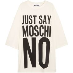 Moschino Oversized printed cotton-jersey T-shirt dress (255 AUD) ❤ liked on Polyvore featuring dresses, tops, oversized tee dress, moschino dress, white day dress, cotton jersey dress and oversized t shirt dress