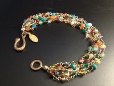 Rainbow Colored Multistone 5 Strand Bracelet by AquarianThoughts, $121.00