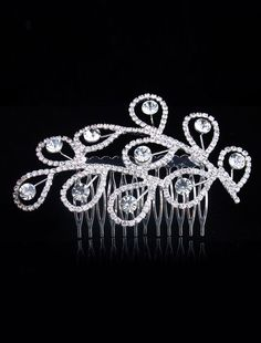 Peacock Feather Pattern Metal Rhinestone Wedding Tiara - Wedding Jewelry - Accessories